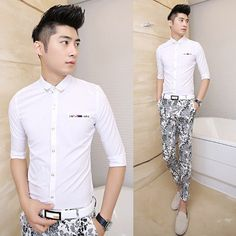 927326bcc4 2014 Unique Collar Embellished Men Fashion Dress Shirt Slim Asian Men  Clothing  24.66