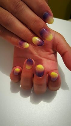 Purple yellow ombre nails