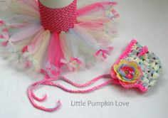 Sprinkles Hot Pink and Pastel Double Layer Petti Tutu Dress with Matching Bonnet and Flower Clip by LittlePumpkinLove