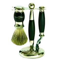 Edwin Jagger: S81m356 Hand Assembled, English Faux Ebony Three Piece Shaving Set. An elegant combination of a shaving, a razor that can be used w/Men's Shaving Soap. Made in England. Priced at: $81.49
