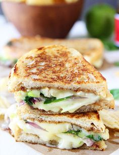 Apple, brie, and fig grilled cheese