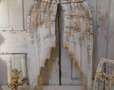 White angel wings wall decor distressed rusty wood and metal hand painted gold accent hang home decor Anita Spero