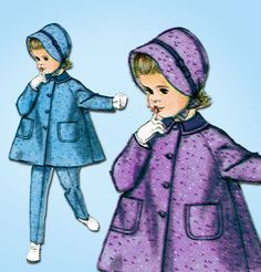 1960s Vintage Simplicity Sewing Pattern 3654 Baby Girls Coat Hat & Pants Size 1