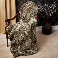 "Leopard Faux Fur Thermal Throw 58""x60"" - $82.99"