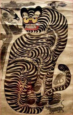 Tiger and Magpie Joseon period Korea century CE 3 Japanese Prints, Japanese Art, Tiger Rug, Tiger Tiger, Asian Cat, Korean Painting, Korean Art, Traditional Paintings, Magpie