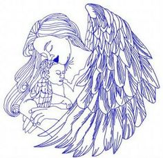 Angel with newborn 3 machine embroidery design. Machine embroidery design. www.embroideres.com