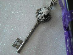 White Lady Lolita Skull Silver tone Skeleton Key by OctoberPetals, $17.75