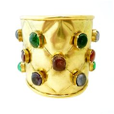 Vintage Signed Chanel Gripoix Glass Quilted Cuff. Ca. 1990s