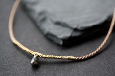 Image of Simple Silk Black Diamond Necklace