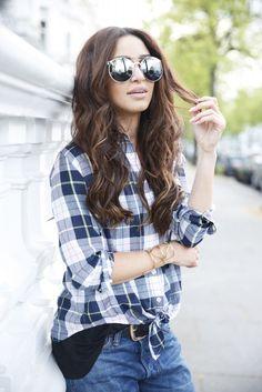 Danielle Peazer (IdelLane) in plaid Equipment shirt and Edge of Ember CARA cuff.