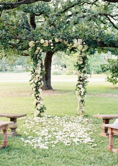 Floral Wedding Arch under an Apple Tree | Ryan Ray Photography | Fig and Neutral Natural Garden Wedding Inspired by First Frost by Sarah Addison Allen