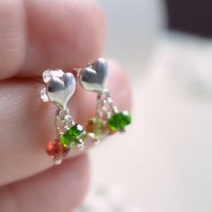 Christmas Earrings, Child's Jewelry, Garnet Peridot Chrome Diopside, Natural Gemstone, Sterling Silver Heart Ear Posts, Holiday by myfirstjewellery on Etsy https://www.etsy.com/au/listing/169137575/christmas-earrings-childs-jewelry-garnet