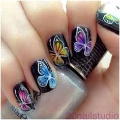 DIY Butterfly Nail Art Ideas and Tutorials Today we are sharing with you a roundup of cute gorgeous butterfly nail art designs. Butterfly nail art is very popular. You can use any imaginable combination of colors and can get… Butterfly Nail Designs, Butterfly Nail Art, Nail Designs Spring, Butterfly Wings, Butterfly Colors, Fancy Nails, Love Nails, My Nails, Beautiful Nail Designs