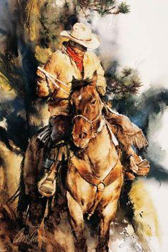 A-Cowboy's-Morning,-gouache,  ~Chris Owen