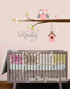 Personalized Name Owl Wall Decal With Birds - Birdhouse Nursery Wall Decals - Owl and Bird Childrens Wall Decals -Vinyl Lettering Wall Art -