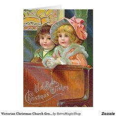 Victorian Christmas Church Greeting Card