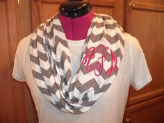 Monogrammed Chevron Infinity Scarf in Gray and by EllaKatelin, $28.00