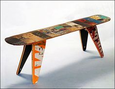 Skateboard Bench - Two seater. Modern Recycled Skateboard Furniture designed and handmade by Deckstool. Bench Furniture, Recycled Furniture, Recycled Wood, Furniture Making, Furniture Design, Furniture Ideas, School Furniture, Recycled Materials, Repurposed