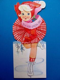 Vintage Christmas Card 1950s Glitter Girl Red Frilly Dress Pink Scarf Skating Ice Skating Images, Skating Pictures, Vintage Greeting Cards, Vintage Christmas Cards, Frilly Dresses, Pink Dress, Glitter Girl, Pink Scarves, Skate