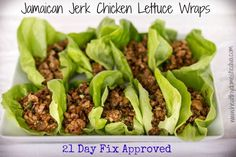 JAMAICAN JERK CHICKEN LETTUCE WRAPS . 21 Day Fix, Recipe, Healthy, Clean Eating, Easy, Dinner, Lunch