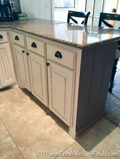Kitchen Cabinet Refacing On A Budget   Farm Fresh Vintage Finds *shows  Peninsula Color Transition. Redo Kitchen CabinetsDiy ...