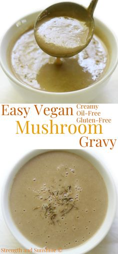 This super easy creamy Vegan Mushroom Gravy is the best! It's a must-have for Thanksgiving and can be used to top mashed potatoes our biscuits! You can make it quick in just 10 minutes, plus it's gluten-free, oil-free, and allergy-free! There is so much savory flavor in this smooth vegan gravy that everyone in your family will LOVE it! This is the only vegan gravy recipe you'll ever need! #thanksgiving #gravy #vegangravy #glutenfree #comfortfood #sauce