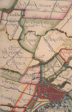 De omgeving van Rotterdam in 1611 met net ten noorden van de stad bij de Hofpoort het tot lakenramen ingerichte Hof van Wena.