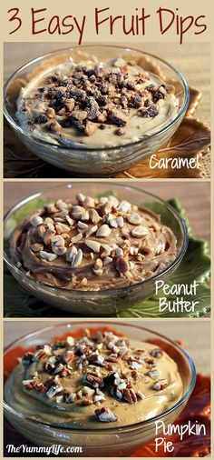 3 Easy Dip Recipes--Pumpkin Pie, Caramel, & Peanut Butter. For dipping fruit, cookies, or pretzels. Also great bagel or muffin spreads. www.theyummylife.com/easy_dip_recipes_pumpkin_pie_caramel_peanut_butter