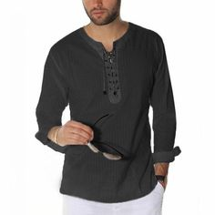 Men Casual Shirts Long Sleeve Solid Lace Up Tunic Tops Men Vintage Slim Male Blouse Chemise Autumn Casual Shirts Casual Shirts For Men, Men Casual, Men Shirts, White Shirt Men, Long Sleeve Tee Shirts, Dress Shirts, Casual Fall, Tunic Tops, Sleeves