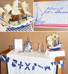vintage nautical baby shower by Honeycomb Events + Design {model ship handmade from a kit at Michaels!}