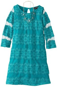 My Michelle Big Girls' Lace Dress with Necklace, Teal, 12