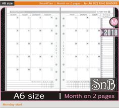 SnB A6 rings - SmartPlan - Month on 2 pages (Monday) - 2017 / 2018 - Printable Monthly inserts for Ring Binders by MarsiaBramucci on Etsy