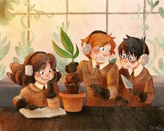 Hermione, Ron and Harry at Herbology class