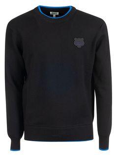 Kenzo Tiger Crest Applique Crewneck Sweater In Black Layers Design, Black Wool, Kenzo, Street Wear, Crew Neck, Mens Fashion, Sweatshirts, Casual, Clothing