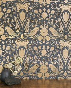 I am completely and totally smitten with @carsonellis ' new wallpaper, Barn Owl and Hollyhocks, with @jujupapers - check it out on the Juju site today. This gold is my fav  #wallpaper