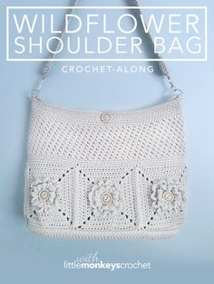 Wildflower Shoulder Bag CAL | Join Rebecca from Little Monkeys Crochet on this 3-week crochet-along that's full of helpful photos and tutorial videos! | Free Crochet Purse Pattern by Little Monkeys Crochet