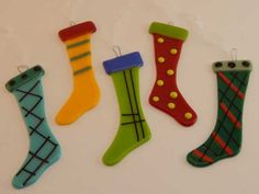 Fused Glass Holiday Sock Ornaments