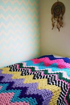 One of a Kind Zig Zag Chevron Granny Ripple Crochet Blanket Comforter