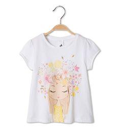 Camiseta de manga corta de algodón eco en blanco