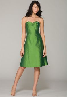 Buy Tempting A-line 2013 Green Satin Sweetheart Alluring Strapless Bridesmaid Dress Online Cheap Prices