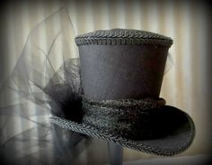 Moulin Rouge Mini Top Hat, Ring Master, Tea Party Mini Top Hat, Mad Hatter Hat, Alice in Wonderland, LARP, Renaissance Hat, Red Rose