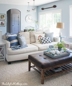 Love the colors of the living room -Summer Home Tour - The Lilypad Cottage Brittany blue, Benjamin Moore Coastal Living Rooms, Living Room Paint, New Living Room, Home And Living, Living Room Furniture, Living Room Decor Blue Walls, Cottage Living Room Decor, Blue Living Room Walls, Coastal Cottage