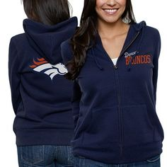Denver Broncos Ladies Game Day Full Zip Hoodie - Navy Blue is available now at FansEdge. Denver Broncos Hoodie, Denver Broncos Womens, Denver Football, Broncos Gear, Seahawks Gear, Football Fever, Fall Football, Seahawks Football, Football Baby