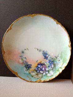 Antique France // Haviland Handpainted Floral China Plate