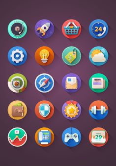 "Kinda ""Flat"" Icons - 9 new icons! by Sam Mountain for Difiz"