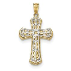 Y/w Gold 2 Level Cross Religious Pendant Charm Necklace Fancy Fine Jewelry Gifts For Women For Her Jewelry Gifts, Fine Jewelry, Cross Jewelry, Cross Necklaces, Gold Polish, Gold Cross, Gifts For Wedding Party, Selling Jewelry, 14 Karat Gold