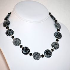 Snowflake Obsidian and Onyx Necklace with by MixedMediaDesigns1, $69.00