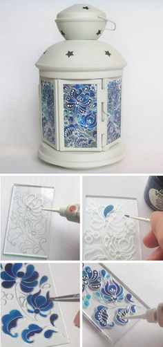 DIY : How to make stained glass lamp decor. Stained Glass Paint, Making Stained Glass, Stained Glass Supplies, Glass Painting Designs, Paint Designs, Painting On Glass, Diy Painting, Bottle Art, Bottle Crafts