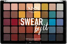 NYX Professional Makeup Swear by It Shadow Palette is as major as it looks. This fall-inspired collection features 40 cool and warm tones - from chocolaty brown and deep teal, to orange and mustard yellow - in stunning matte, metallic and satin finishes. Drugstore Eyeshadow Palette, High Pigment Eyeshadow, Nyx Makeup, Eye Makeup Tips, Makeup Blog, Skin Makeup, Makeup Tools, Makeup Products, Beauty Products