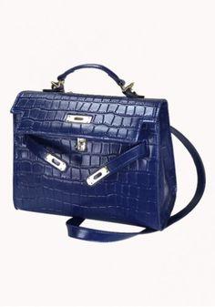 8558e96b575d Ruth Leather Bag In Croc Effect Blue - Handmade from sastrod8 - homemade by  DaWanda.
